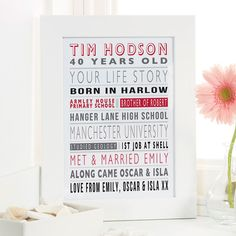 Personalised Life Story for Him as a Unique 40th Birthday Gift