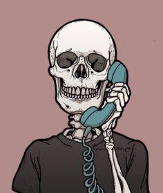 Just call me! By: Tiina Menzel Halloween Wallpaper Iphone, Skull Wallpaper, Halloween Backgrounds, Cartoon Wallpaper, Skeleton Drawings, Skeleton Art, Art Sketches, Art Drawings, Skull Art