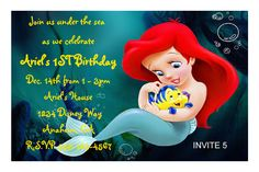 Ariel Birthday invitation. Click on picture to order today