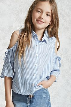Forever 21 Girls - A woven shirt featuring an allover pinstripe pattern, open-shoulder design, a basic collar, button front closures, and short dolman sleeves with tie accents.