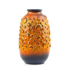 Jasba Keramik Ceramic Moon Crater West German Pottery Vase