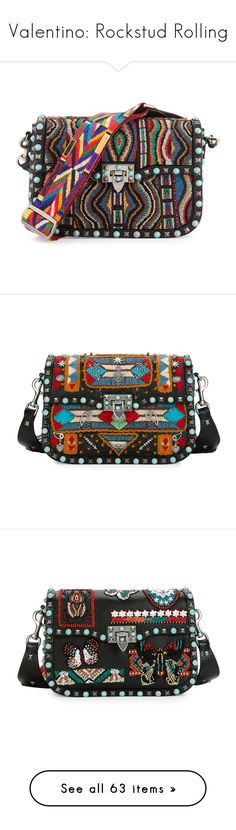 """""""Valentino: Rockstud Rolling"""" by livnd ❤ liked on Polyvore featuring bags, handbags, shoulder bags, multi, beaded shoulder bag, valentino purses, guitar-strap purses, shoulder strap bags, studded purse and shoulder strap handbags"""