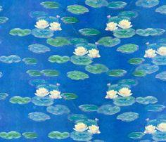 Monet: Nympheas Effet du Soir Waterlily Painting repeat fabric by ninniku on Spoonflower - custom fabric