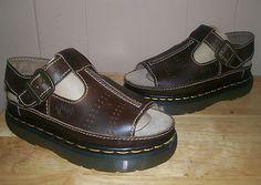 1990s Dr. Martens Leather T-Strap Sandals