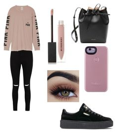 """No name"" by martialartsqueen ❤ liked on Polyvore featuring Boohoo, Victoria's Secret, Puma, Mansur Gavriel and Burberry"