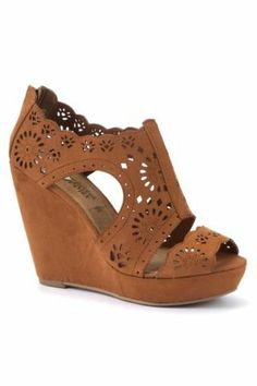 New Look Mobile   Tan Cut Out Cage Wedges on Wanelo - I HAVE TO buy these!  THese shoes were made for me.