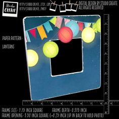 LISTING DESCRIPTION: From the Bo Bunny  Lemonade Stand Carnival collection, a string of glowing paper lanterns and pennant flags overlay a dark blue night sky. This frame is perfect for any backyard party photo or other summer memories. Frame paint color is white. Order #LANTERNS  Altered photo frames begin with an unfinished square wooden frame. The frame is sanded and painted. Then scrapbook paper is decoupaged and distressed onto the frame. Some paper patterns have an overlap into the…