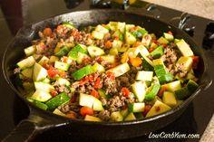 Ground Beef Zucchini Tomato Dish Skillet