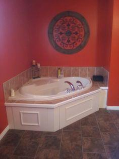 Orange Bathroom With Cool Metal Decor