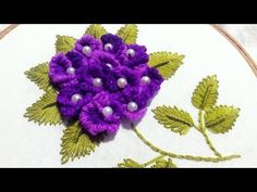 How to stitch flowers with BRAZILIAN EMBROIDERY:Today's Tutorial is EMBROIDERY flowers design, Brazilian Embroidery is a highly textured, dimensional embroidery that uses a variety of stitches to create floral and floral-related designs. Brazilian Embroidery Stitches, Types Of Embroidery, Learn Embroidery, Hand Embroidery Stitches, Hand Embroidery Designs, Embroidery Techniques, Embroidery Needles, Hand Embroidery Flowers, Ribbon Embroidery