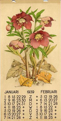 Voerman, Jan, Jr., illustrator. January/February 1939. Dutch calendar page.
