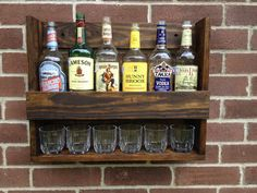 Liquor Cabinet Hanging and Rustic by CoolAndUsefulThings on Etsy