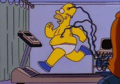 homer running on a treadmill
