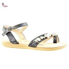 Angkorly - Chaussure Mode Sandale Tong femme bijoux strass diamant Talon plat 2 CM - Noir - PN1554 T 36 - Chaussures angkorly (*Partner-Link)