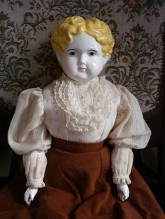 "BEAUTIFUL 23"" BLOND LOW BROW CHINA HEAD DOLL VICTORIAN ANTIQUE REPRODUCTION"