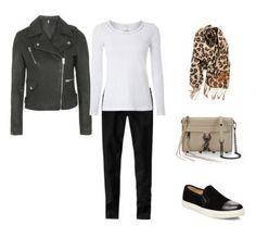 leather jacket - white tee - black jeans