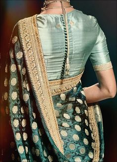 25 Latest Silk Saree Blouse Designs for wedding season Blouse Back Neck Designs, Silk Saree Blouse Designs, Saree Blouse Patterns, Fancy Blouse Designs, Silk Sarees, Brocade Saree, Banarsi Saree, High Neck Blouse, Indian Blouse Designs