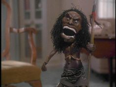 """Nightmare-inducing doll from the movie """"Trilogy of Terror"""" starring Karen Black. Scared the bejeezus out of me!but of course I watched it every time it aired. Scary Movies, Horror Movies, Karen Black, Creepy Dolls, So Little Time, Science Fiction, Movies And Tv Shows, Movie Tv, Wonder Woman"""