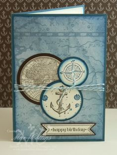SU - Stamps: The Open Sea, Itty Bitty Banners, Gorgeous Grunge Colors: Not Quite Navy, Very Vanilla, Early Espresso Ink: Not Quite Navy (retired), Early Espresso Tools: Nautical Expedition DSP, Circle Framelits & Punches, Banner Framelits