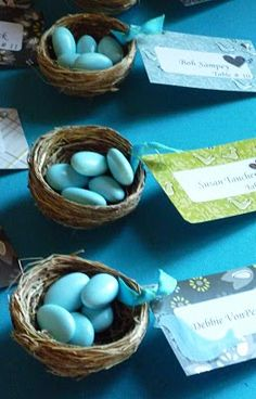 love these little candy bird nests. cute easter place setting.