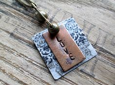 Love Mixed Media Stamped Metal Pendant by LittleBitsOFaith on Etsy