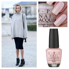 Milky pink nail polish.