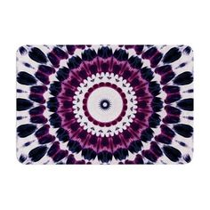 Kess InHouse Pom Graphic Design Riverside Pebbles Colored Purple Teal Memory Foam Bath Mat 17 by 24