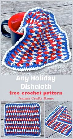 This beautifully textured 3-color dishcloth is a free crochet pattern.  Unique stitch combination creates a wonderful texture and unique appearance on both sides!  Complete video tutorial is available.  #nanascraftyhome Crochet Cup Cozy, Crochet Towel, Crochet Mittens, Crochet Dishcloths, Free Crochet, Beginner Crochet, Modern Crochet Patterns, Crochet Designs, Crochet Kitchen
