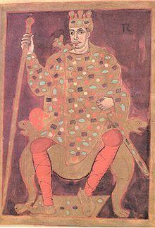 LOTHAIRE 1°, enluminure datée de 842, Londres, British Library.- 11) LOTHAIRE 1° -2. Mariage et descendance: En octobre 821 à Thionville, Lothaire épouse Ermengarde, fille du comte de Tours, Hugues d'Alsace, qui lui donne 8 enfants: *Louis II le Jeune (v 825-+875) empereur d'Occident (855-875) Epouse Engelbere. *Ermengarde (v 825/830- +ap.865/866) épouse Gislebert de Maasgau (820-875) (cf. famille des Régniers).