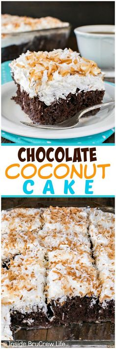 Chocolate Coconut Cake - this gooey chocolate cake is topped with three kinds of coconut goodness! Great cake recipe for spring or summer! Chocolate Chip Cookies, Gooey Chocolate Cake, Chocolate Desserts, Easy Desserts, Delicious Desserts, Yummy Food, Chocolate Heaven, Coconut Chocolate, Cake Mix Recipes