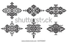 Tribal Black Element Patterns On White Stock Vector (Royalty Free) 323940869 Navajo Pattern, Native American Patterns, Tatoo Designs, White Stock Image, Aztec Designs, Tribal Patterns, Line Art, Images, Black