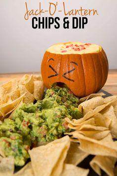 Jack-O' Lantern Chips & Dip | Halloween | Pinterest | Appetizer ...