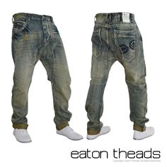 New Mens BNWT Crosshatch Twisted Carrot Fit Jeans 28-38 Short Regular Long