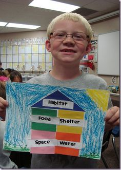 habitat house; if students chose an animal, then could make flaps for the students to illustrate examples of each