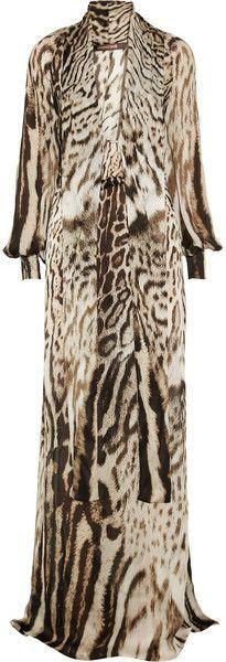 Roberto Cavalli Animalprint Silkchiffon Gown in Animal
