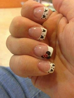 classic french nails Black And White Minnie Mouse Nails, Mickey Mouse Nails, Minnie Bow, Disney Nail Designs, Nail Art Designs, Disney Nails Art, Disney Manicure, French Nails, French Polish