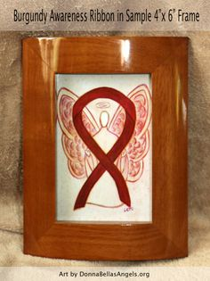 Multiple Myeloma Burgundy Awareness Ribbon Guardian Angel Art by AwarenessGallery