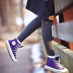 Purple Chuck Taylor's Converse High Tops - $40