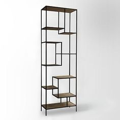 A sophisticated storage system. The Reclaimed Pine & Iron Bookcase is both an efficient and elegant use of space. Its maze-like design - with nine shelves in total - transforms ordinary books and curios into an artful display of knick knacks an Wide Bookcase, Modern Bookcase, Bookcase Shelves, Storage Shelves, Glass Shelves, Office Bookshelves, Book Storage, Wall Shelves, Storage Ideas