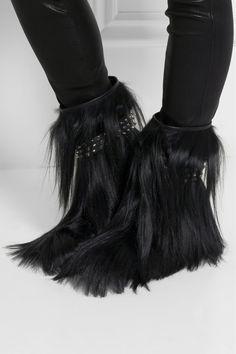 Saint Laurent|Patti studded goat hair ankle boots|NET-A-PORTER.COM