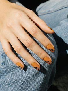 Fall Nail Designs, Acrylic Nail Designs, Funky Nails, Cute Nails, Stylish Nails, Trendy Nails, Modern Nails, Oval Nails, Gold Nails