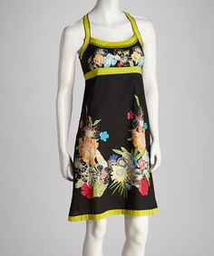 Take a look at this Black & Lime Green Blossom Dress by Coline USA on #zulily today! $39.99, regular 72.00