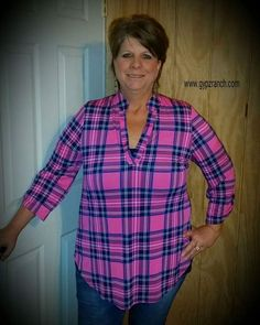 Infamous Style Pink Plaid Top - Also in Plus Size www.gypzranch.com