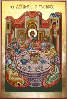 Adamantia Karatza artwork Religious icon of Last Supper for sale and offering more original artworks in Painting Tempera medium and Religious theme. Contemporary artist website Contemporary Painter, Artist from Athens Greece. Byzantine Icons, Byzantine Art, Religious Icons, Religious Art, Writing Icon, Artist Portfolio Website, Holy Thursday, Paint Icon, Picture Icon