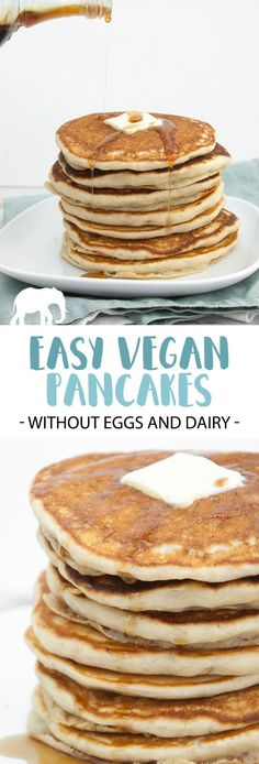 No eggs – no dairy – These easy Vegan Pancakes are your future Sunday breakfast!… No eggs – no dairy – These easy Vegan Pancakes are your future Sunday breakfast! They are perfectly fluffy, quick to make and look amazing. Pancakes Végétaliens, Breakfast Pancakes, Breakfast Casserole, Oatmeal Pancakes, Pancakes With No Eggs, Vegetarian Casserole, Breakfast Fruit, Vegan Breakfast Recipes, Vegan Snacks