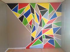 Painters tape, paint, paint brushes