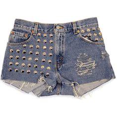 Studded Shorts / High Waist Denim Levis Cut Offs / 29 Waist ($45) ❤ liked on Polyvore