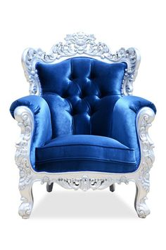 This breathtaking chair will reaffirm your status as royalty in your own home. The sumptuous Belle de Fleur Chair features an intricately carved mahogany frame finished in silver leaf, and luxurious blue velvet upholstery. This fabulous Belle de Fleur chair is eloquently carved with 3 dimensional carvings on both the front and back so the chair looks fantastic no matter where you decide to place it. Deck out your castle in the dramatic details of an opulent era. #Fabulous&Baroque
