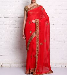 Red Embroidered Georgette Saree #ethnicwear #saree #embroidered #georgette #sequined #summer #indianroots
