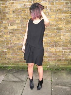 black Crea Concept dress, Zara ponyskin boots #outfit #streetstyle